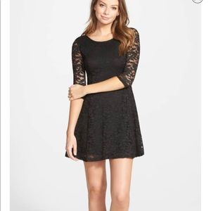 Lush Black Lace Fit And Flare Dress NWT